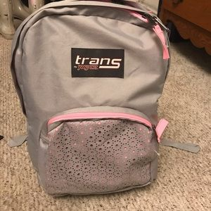 "Trans by JanSport Overt 17.5"" Backpack -Gray/Pink"